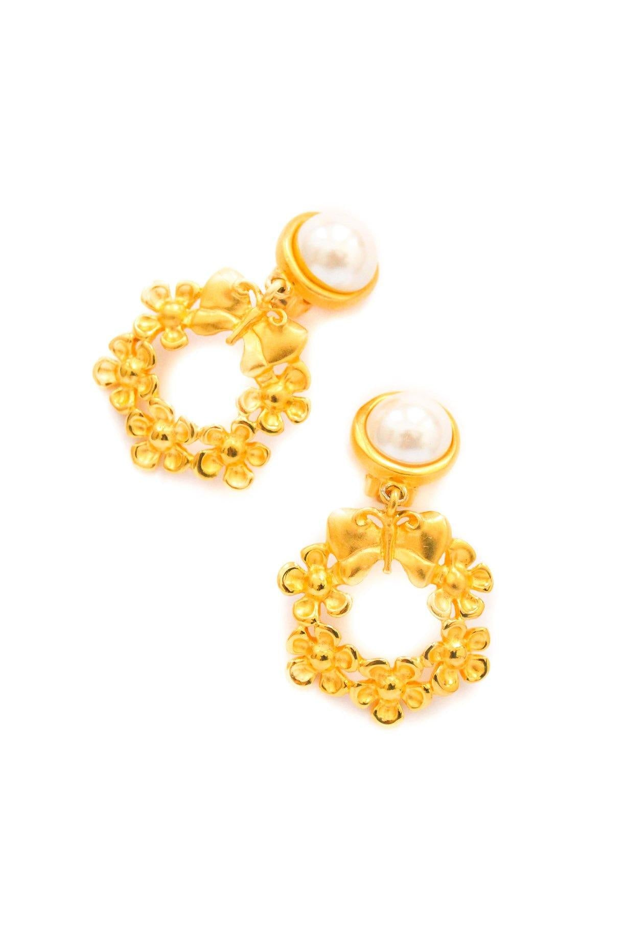 Givenchy Butterfly Pearl Clip-on Earrings