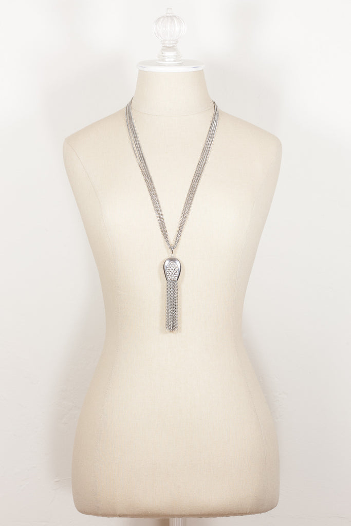 70's__Monet__Silver Pendant Tassel Necklace