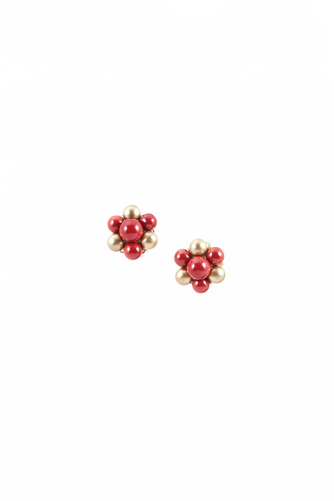 60's__Vintage__Red & Gold Flower Earrings