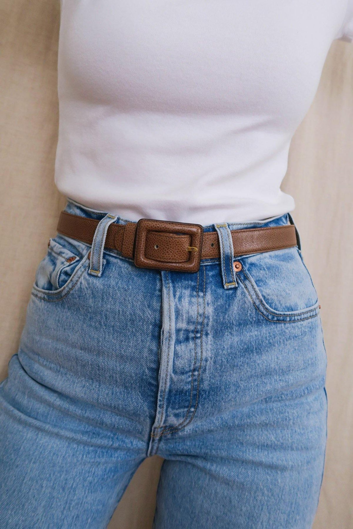 Brown Caviar Leather Belt - Sweet & Spark