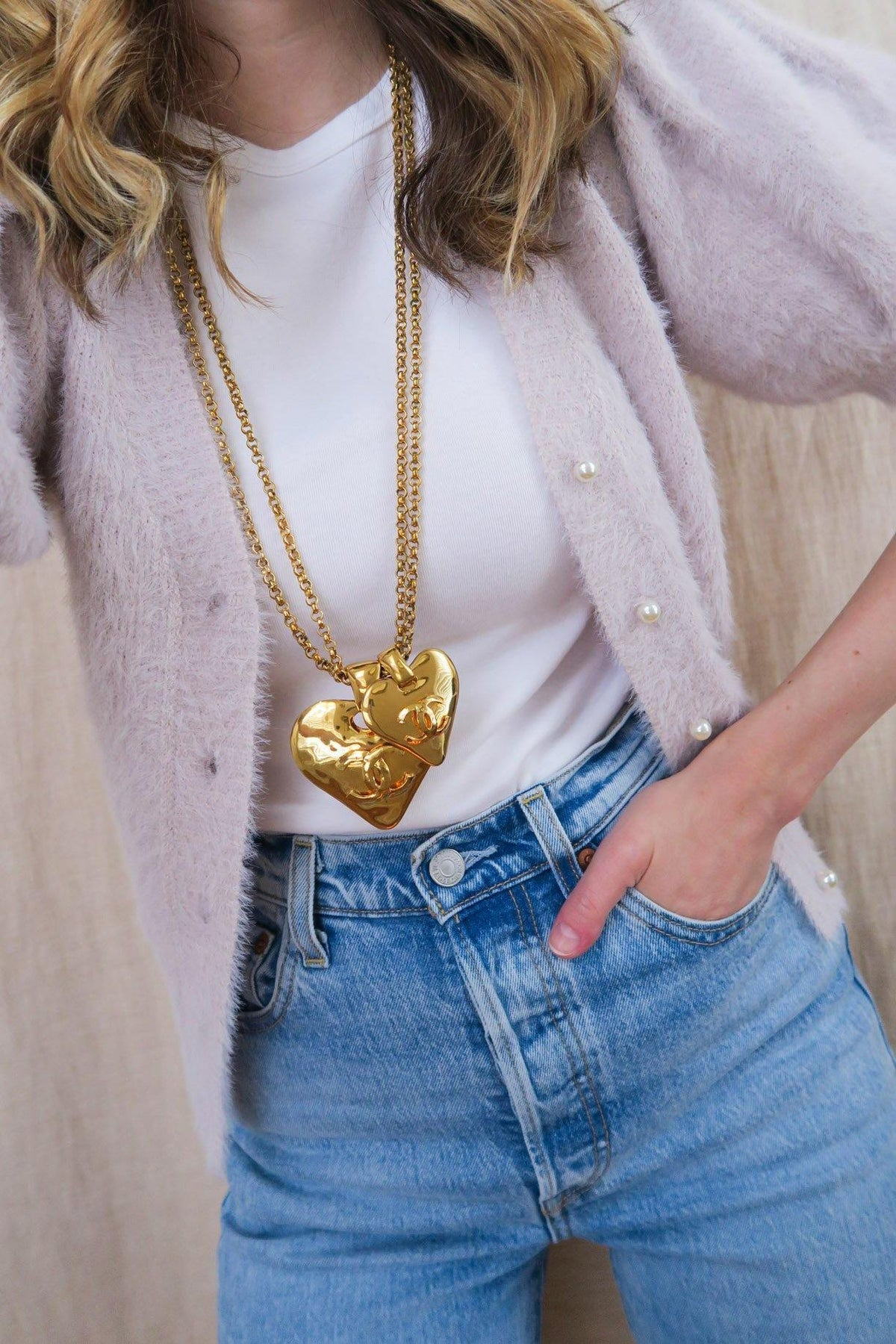 CC Double Heart Statement Necklace - Sweet & Spark