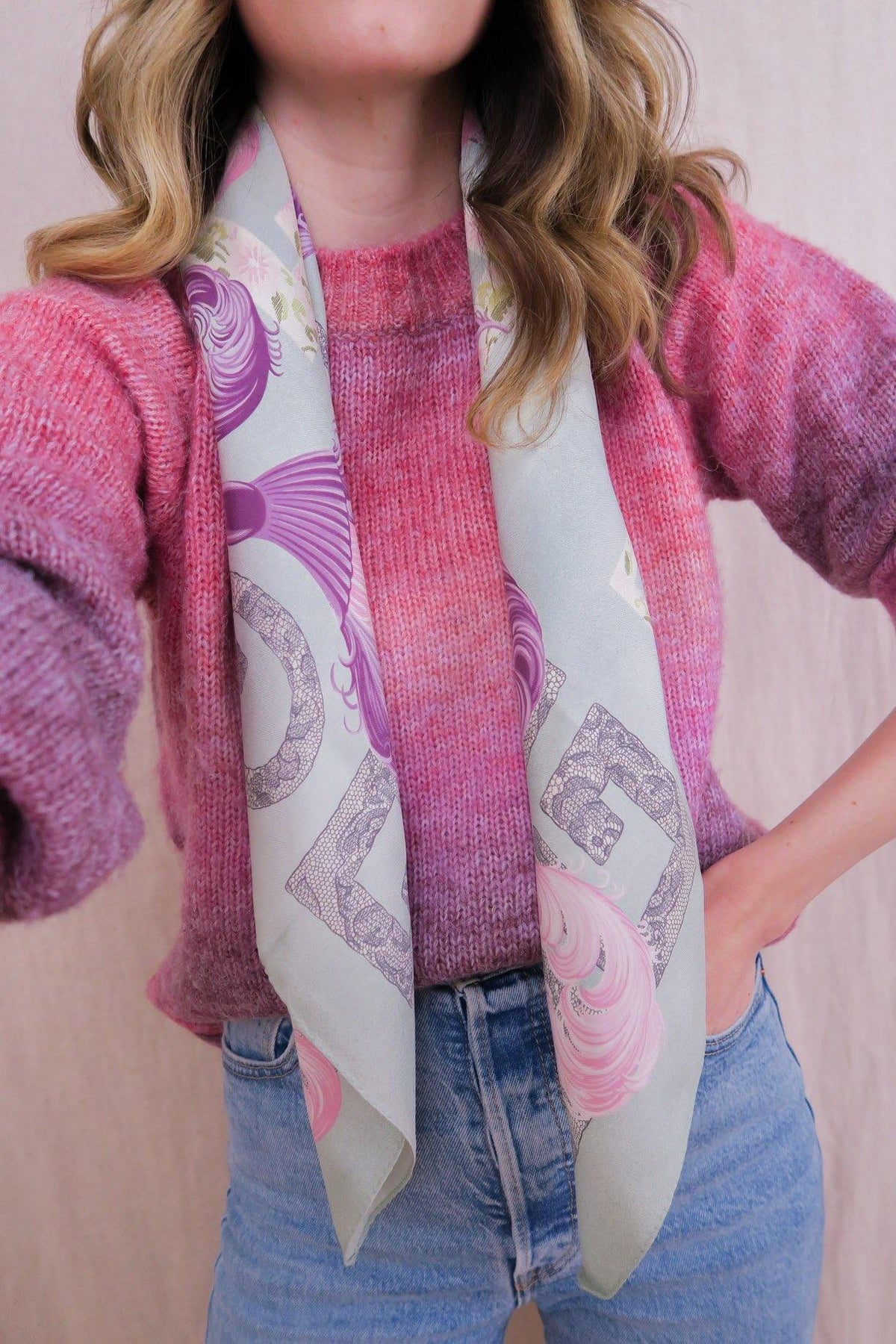 Pastel Feather Logo Scarf