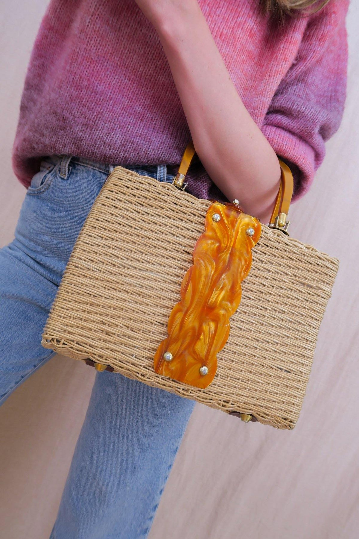 Vintage Tortoise Shell Wicker Bag from Sweet and Spark