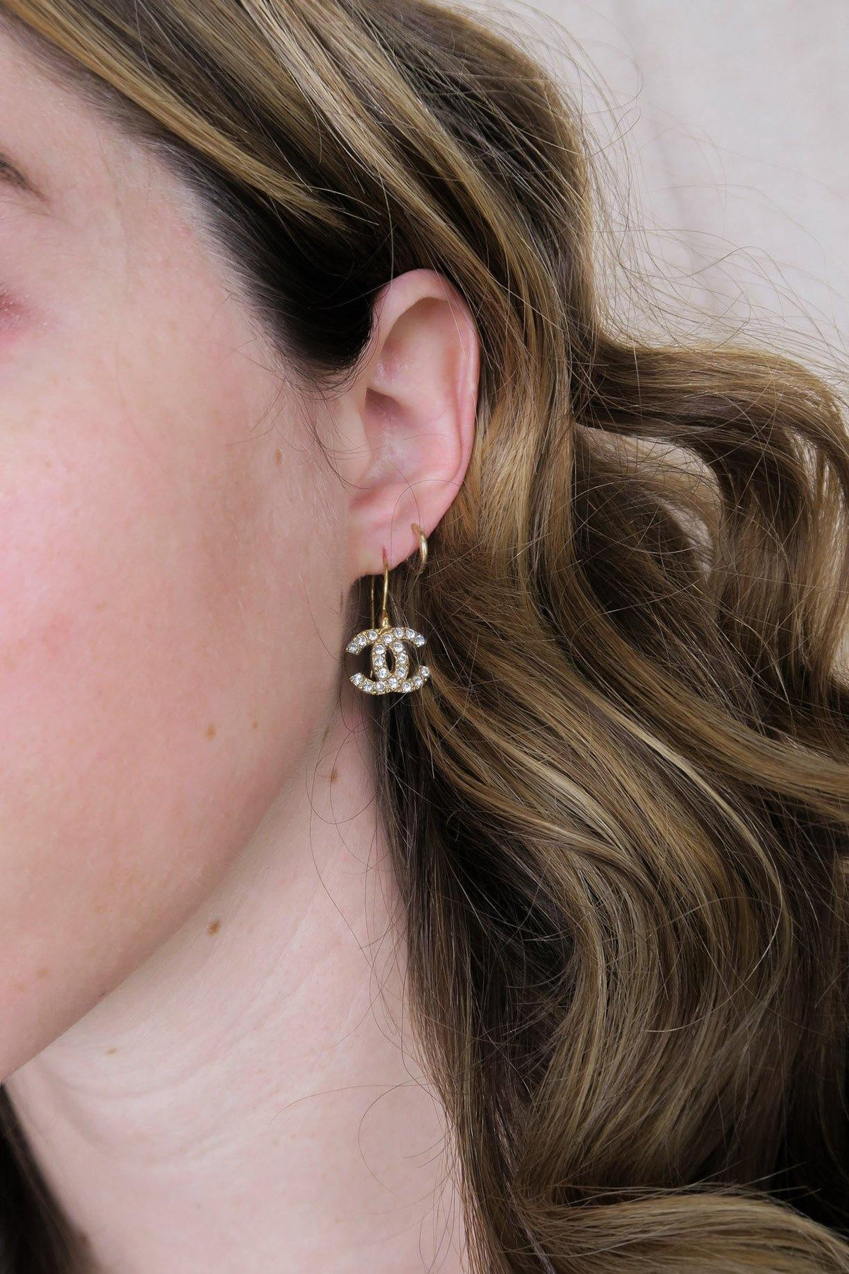 Vintage Chanel CC Rhinestone French Hoop Pierced Earringsfrom Sweet and Spark