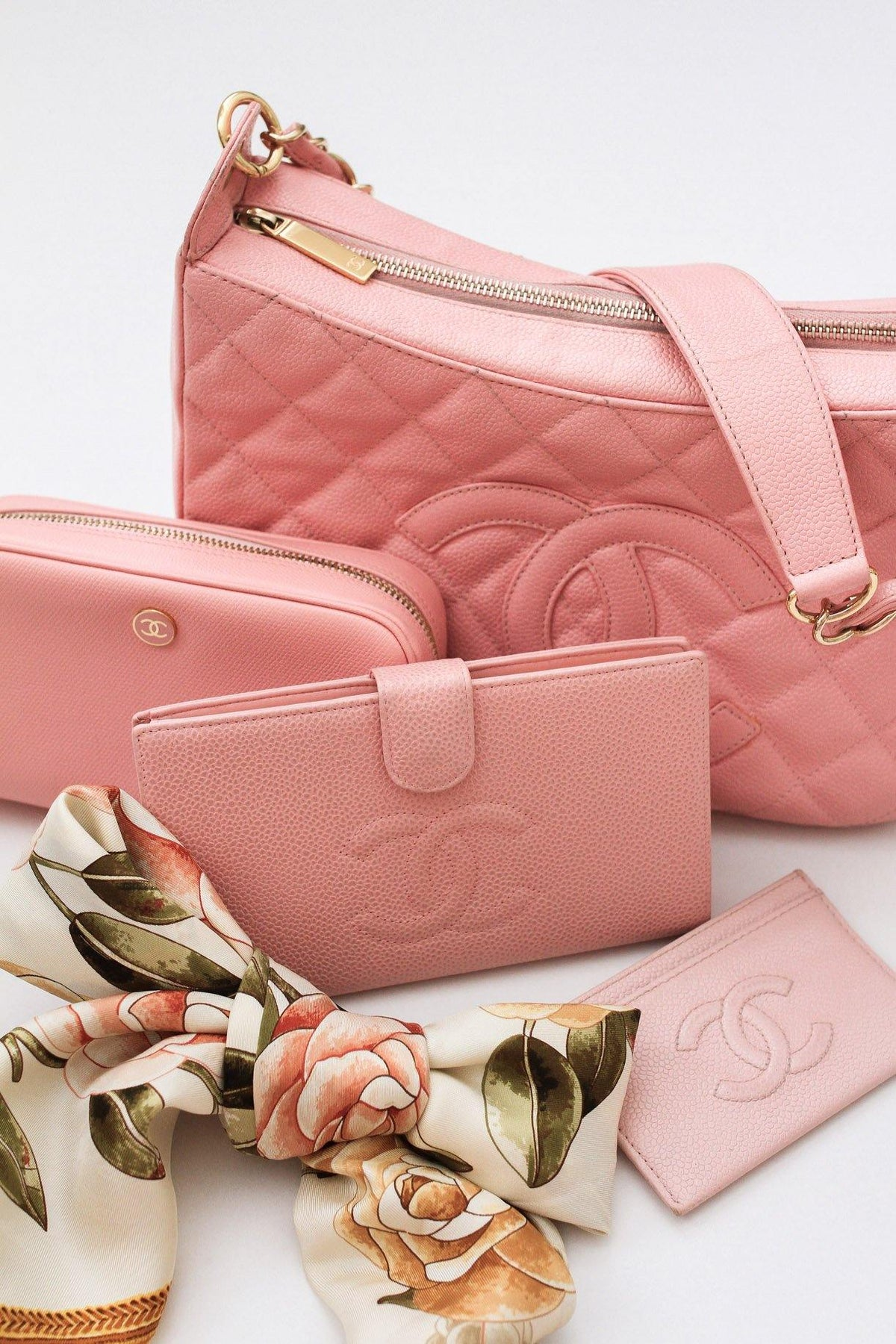 Chanel CC Pink Caviar Leather Shoulder Bag