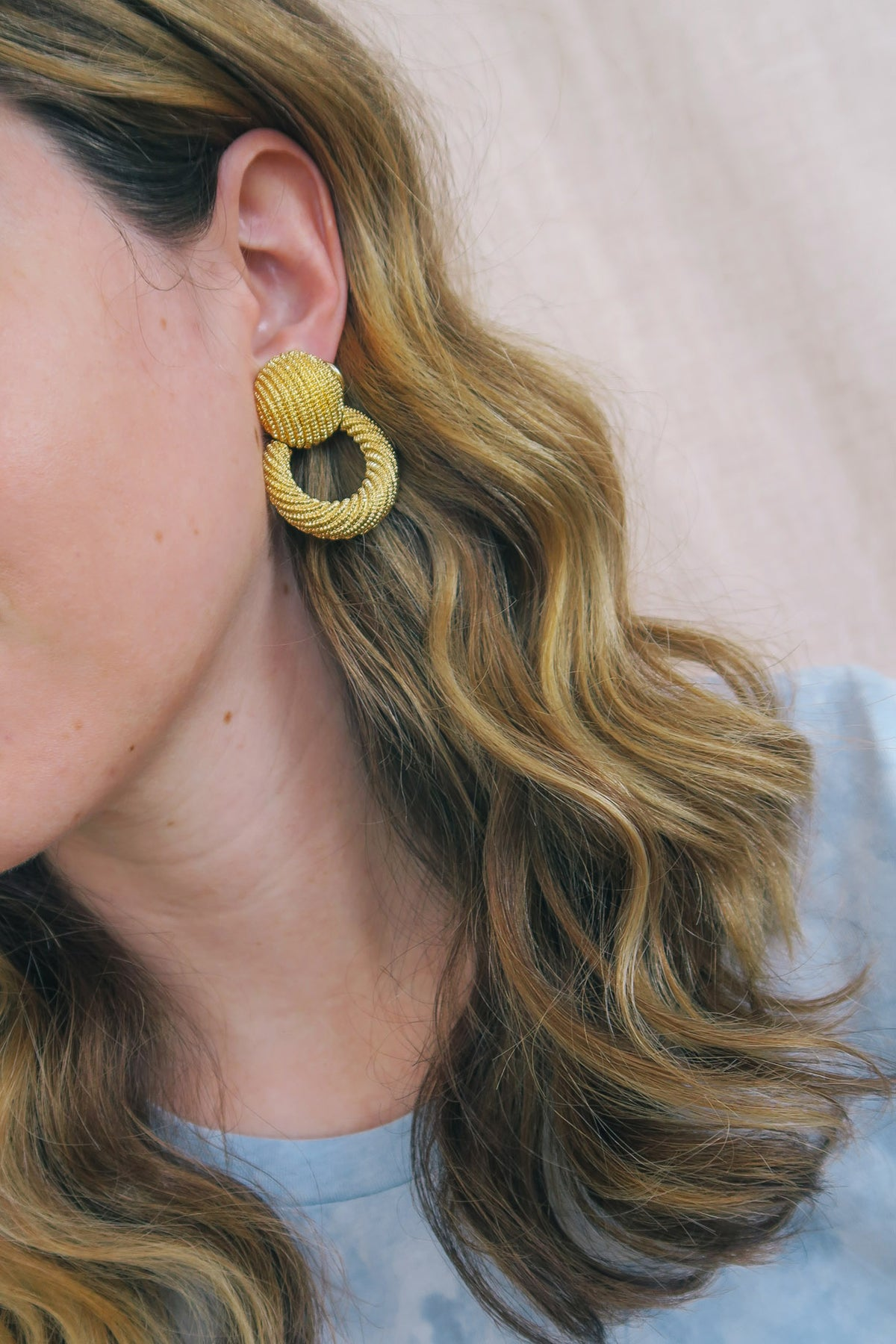 Textured Door Knocker Earrings