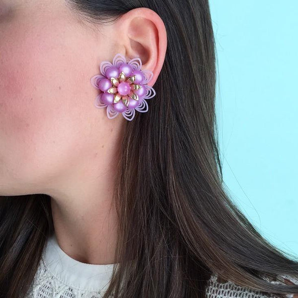 60's Purple Burst Floral Clip-on Earrings