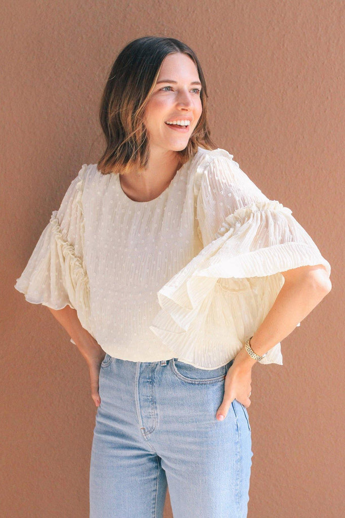 Line & Dot Kate Chiffon Flutter Sleeve Top
