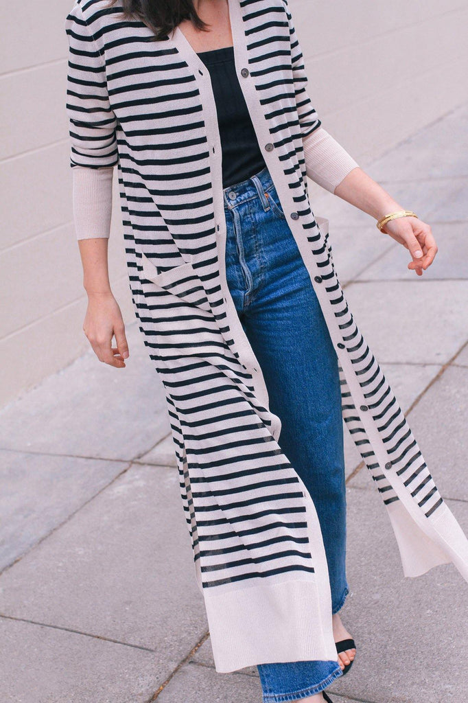 Line & Dot Tyler Striped Duster Cardigan