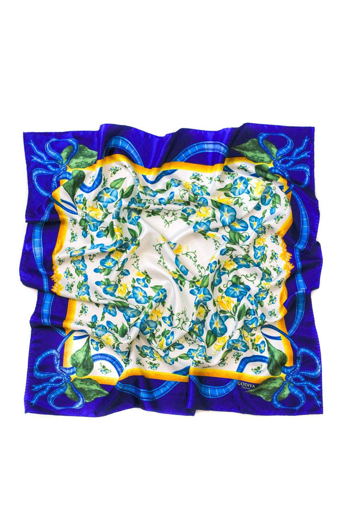 Large Blue Florals Square Scarf