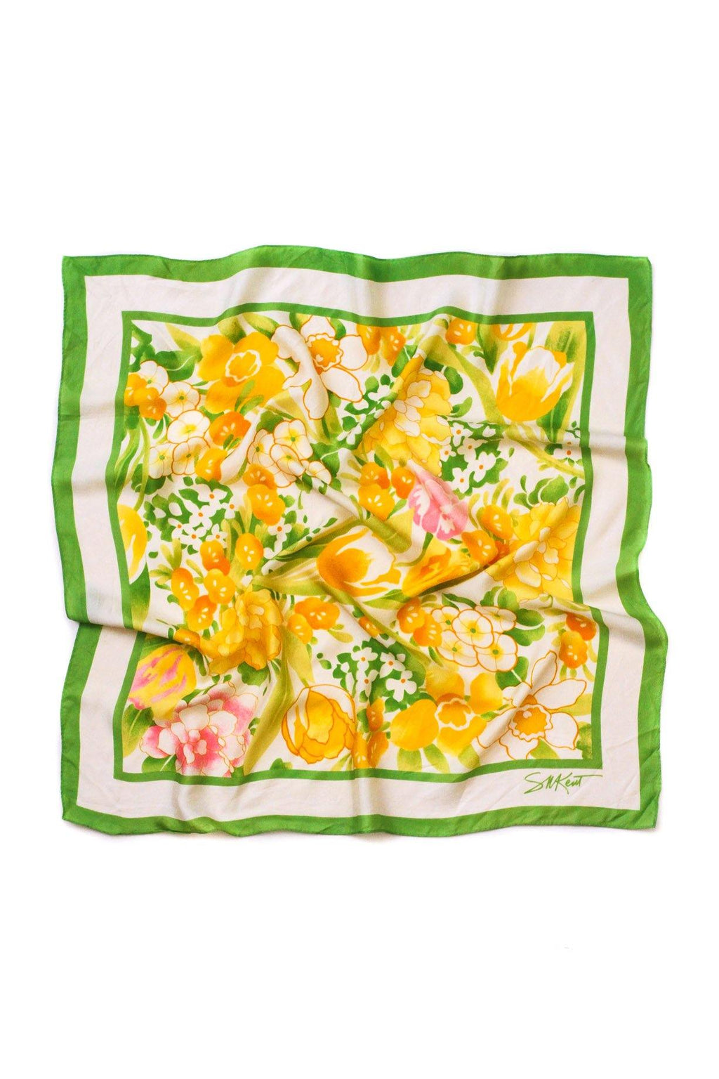 Green & Yellow Floral Square Scarf