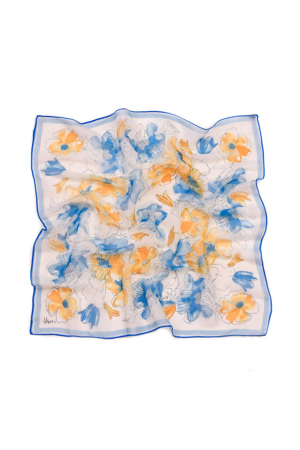 Blue & Orange Floral Square Scarf