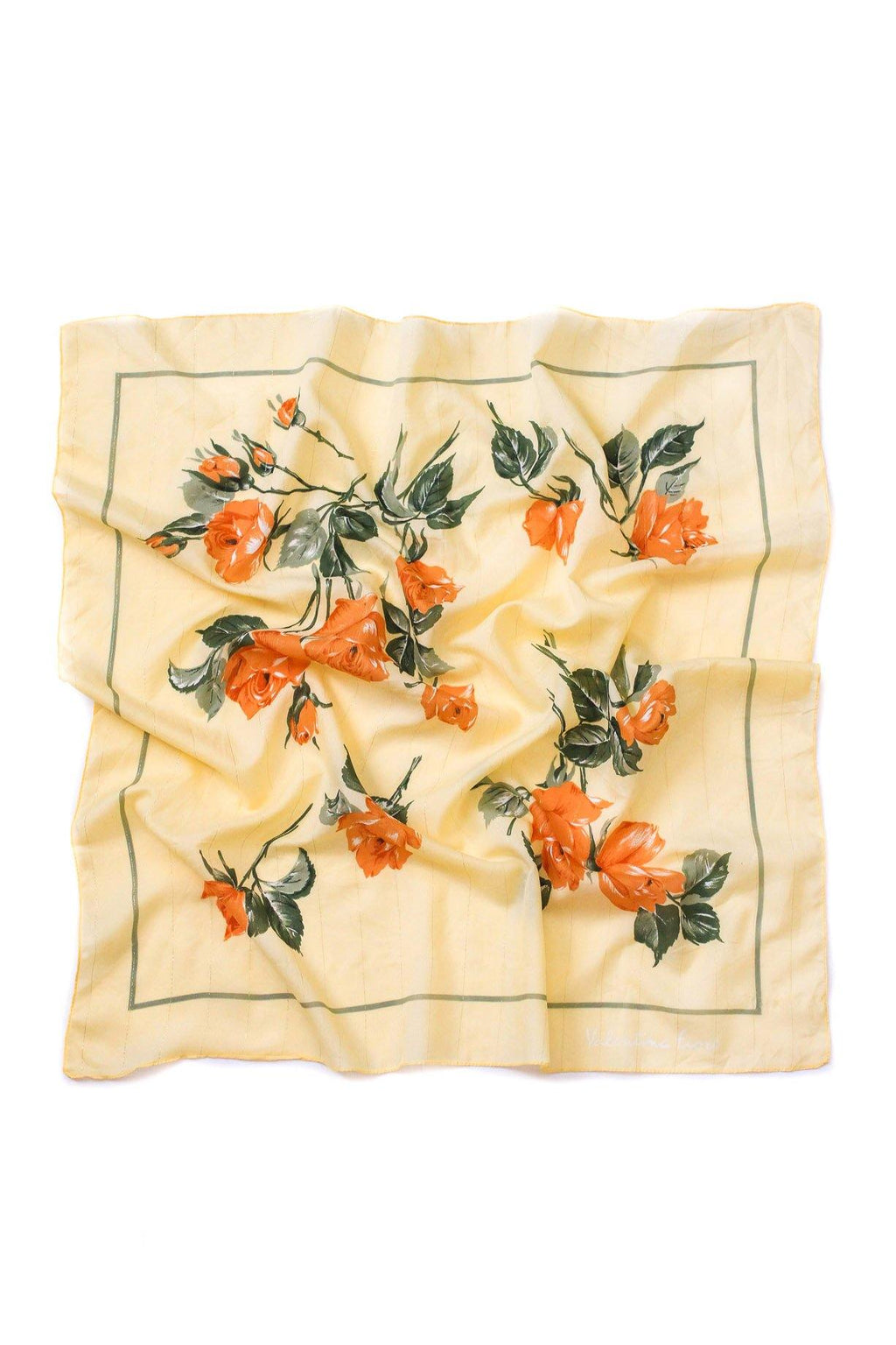 Yellow Florals Lurex Square Scarf