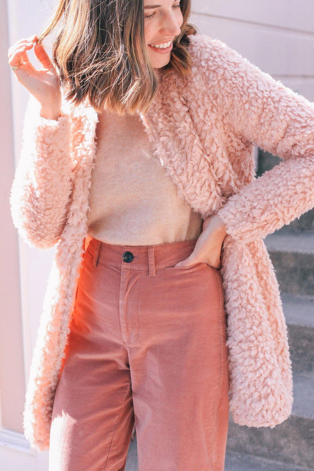 Bishop & Young Pink Faux Fur Jacket