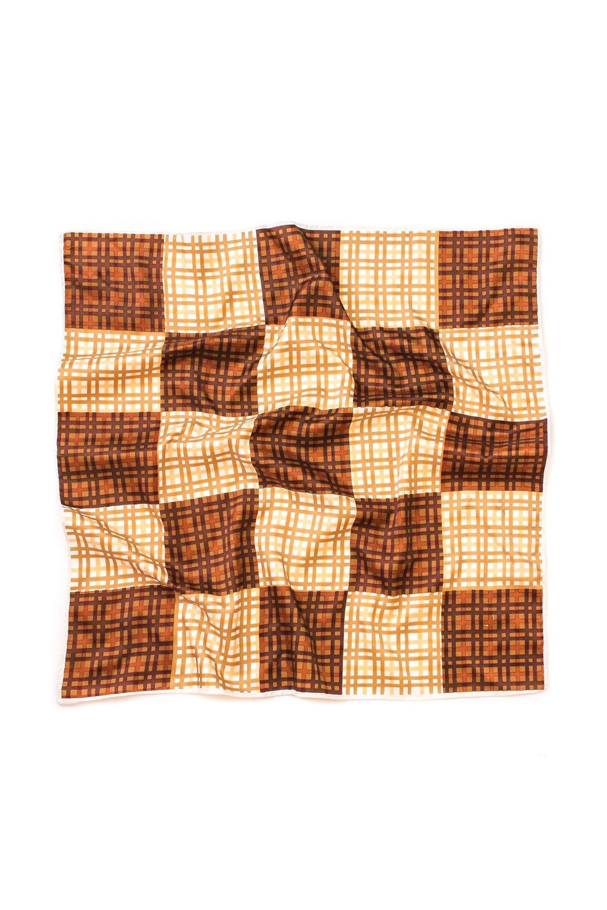 Vintage Brown Plaid Square Scarf from Sweet & Spark