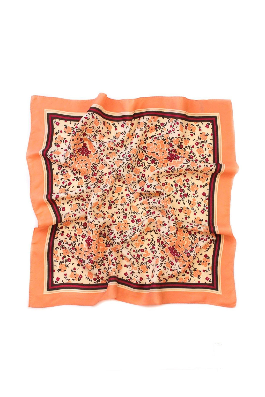 Peach Floral Border Square Scarf