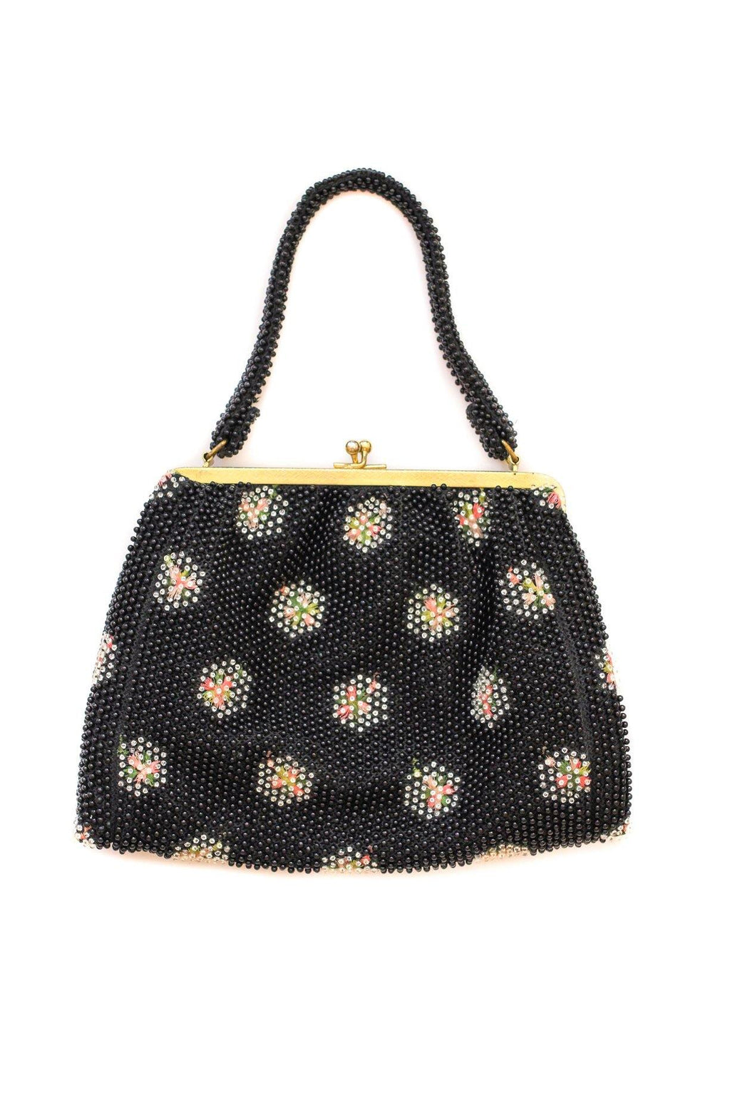 Black Beaded Floral Burst Bag