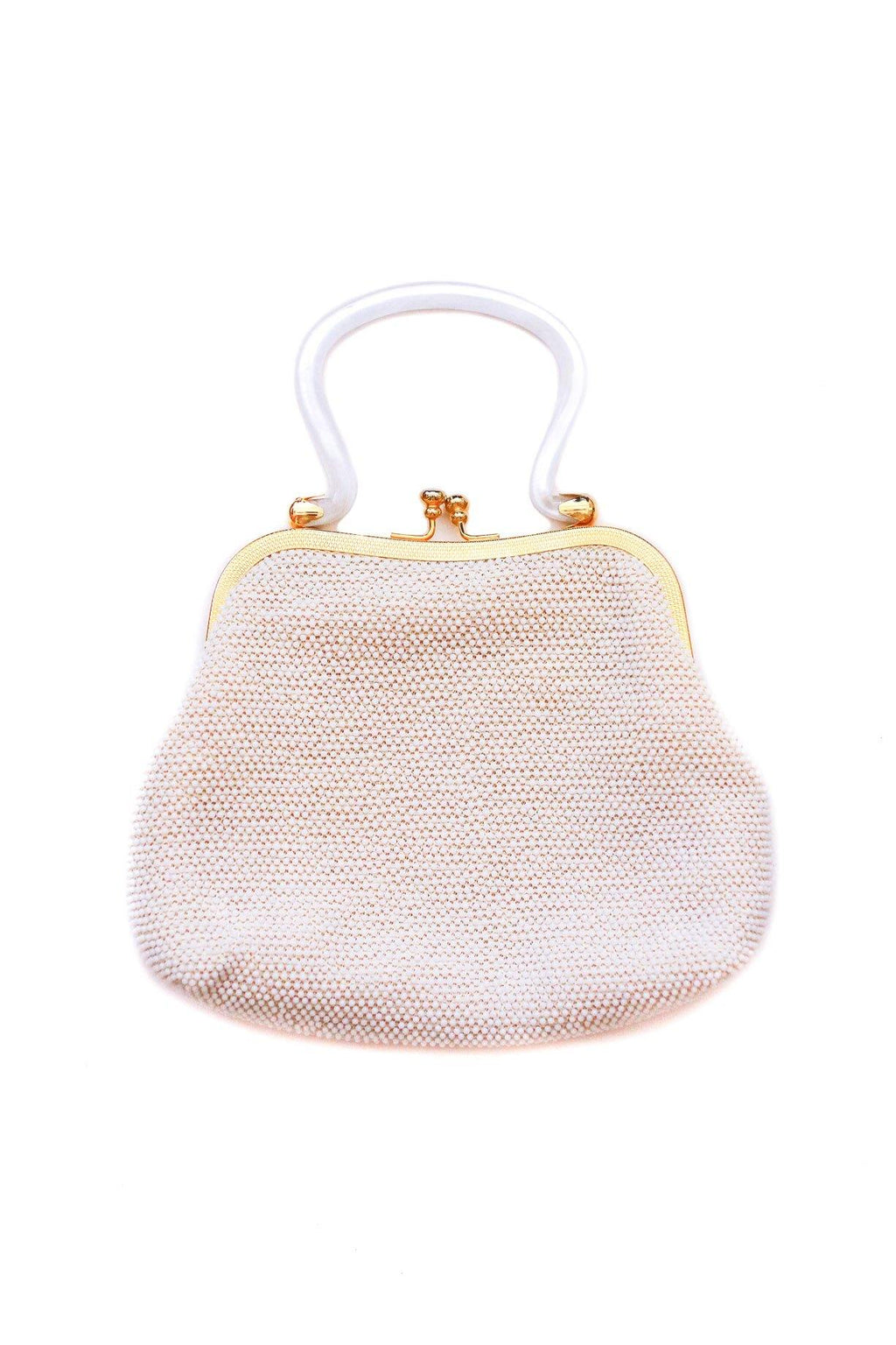 White Beaded Top Handle Bag