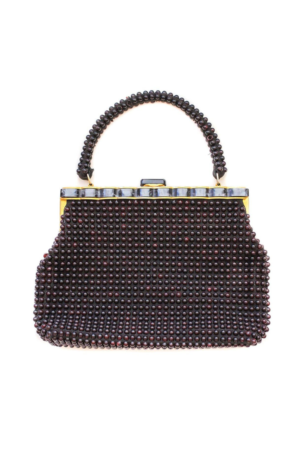 Black Beaded Top Handle Bag