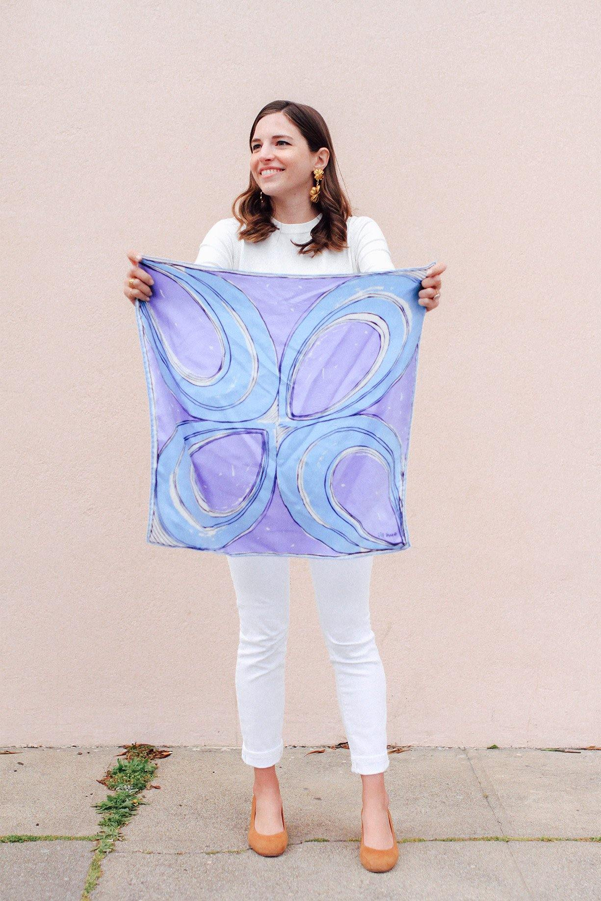 Blue Swirls Square Scarf