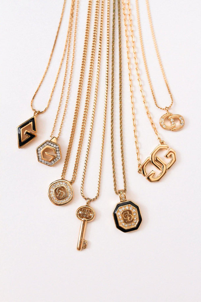 Givenchy Rhinestone Key Pendant Necklace