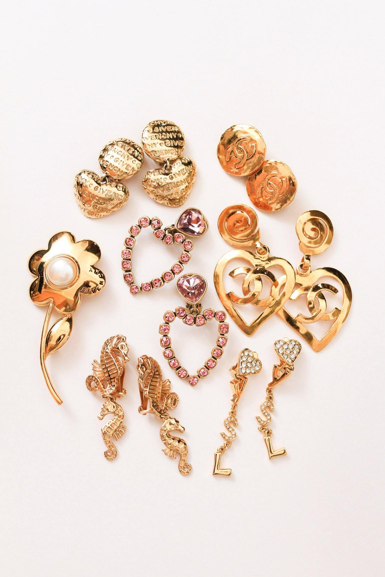 YSL Heart Drop Clip-on Earrings