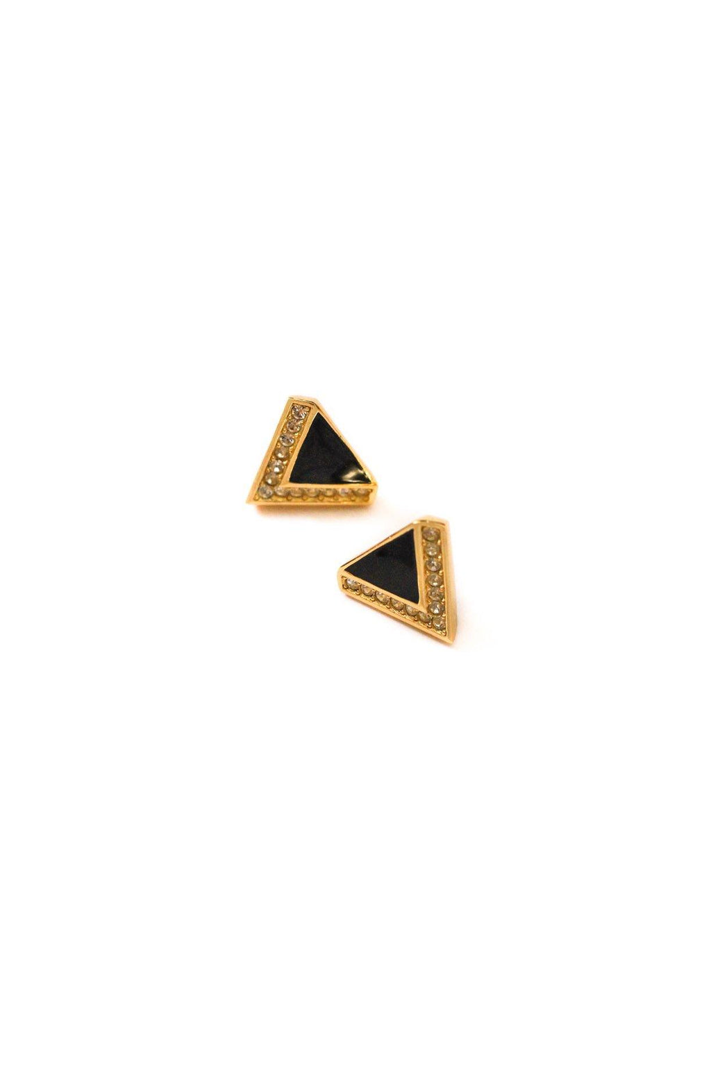 Rhinestone Triangle Pierced Earrings