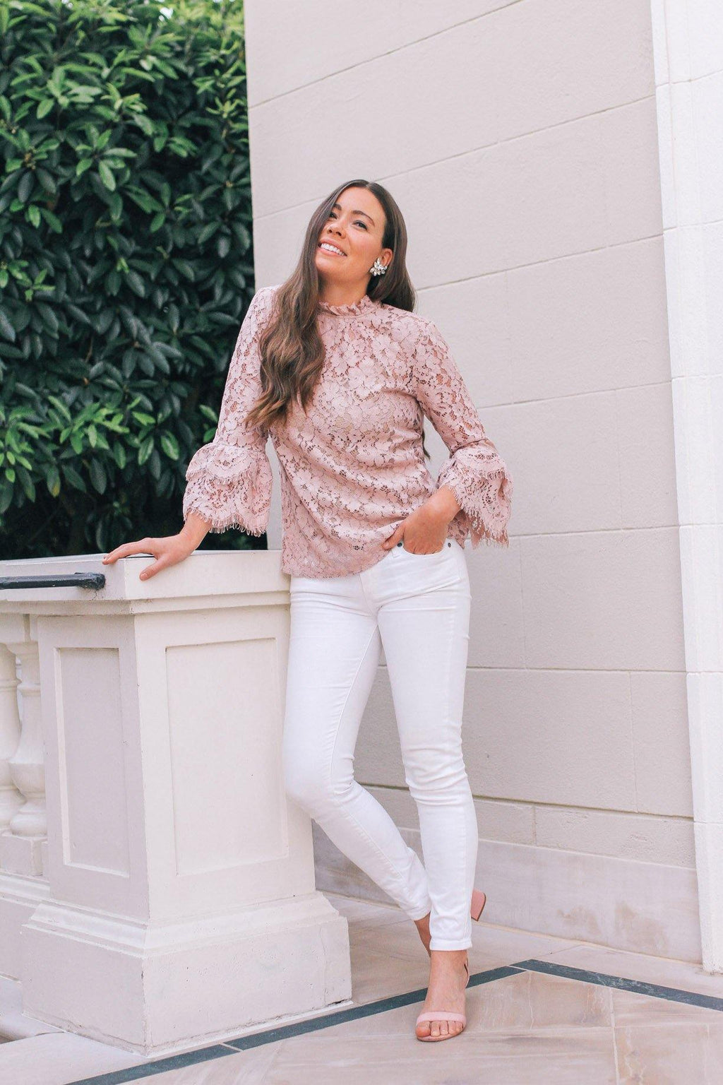 Pink Lace Bell Sleeve Top