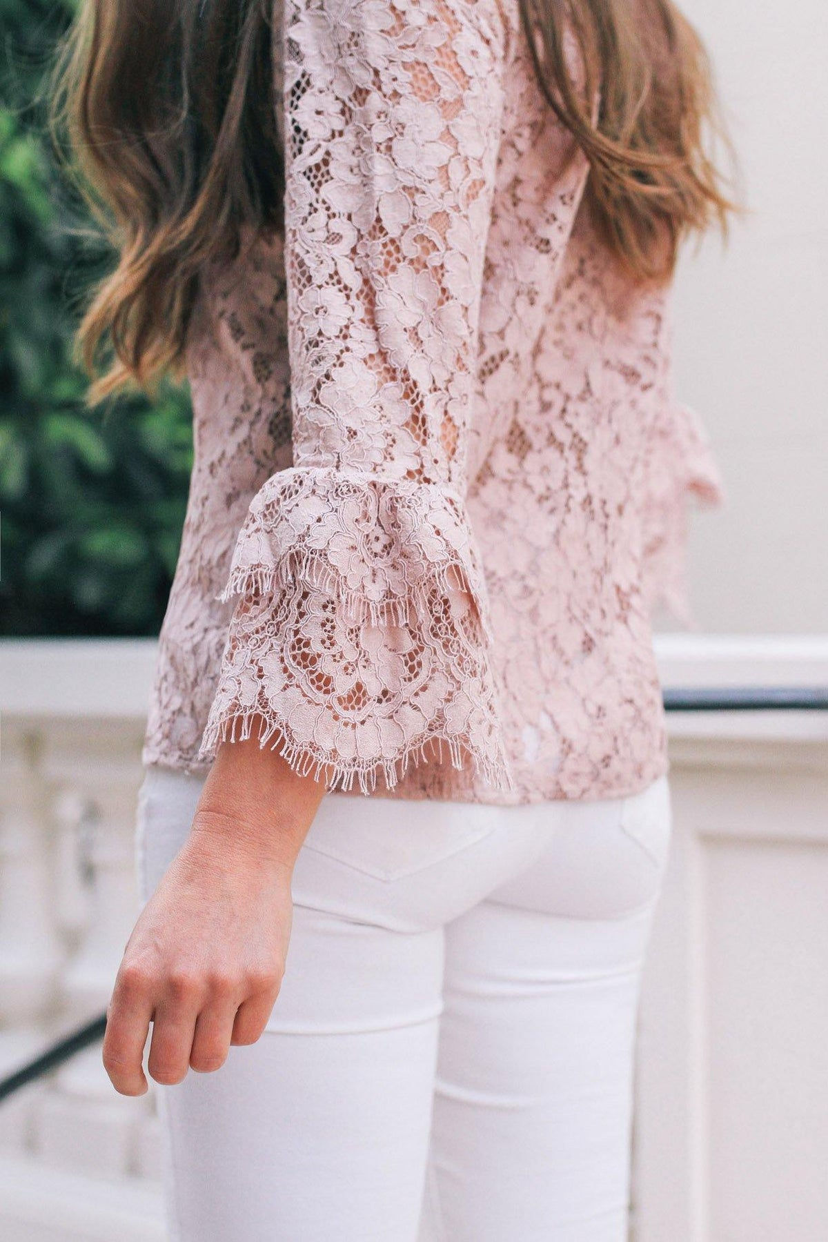 Rosemunde pink lace bell sleeve top from Sweet & Spark.