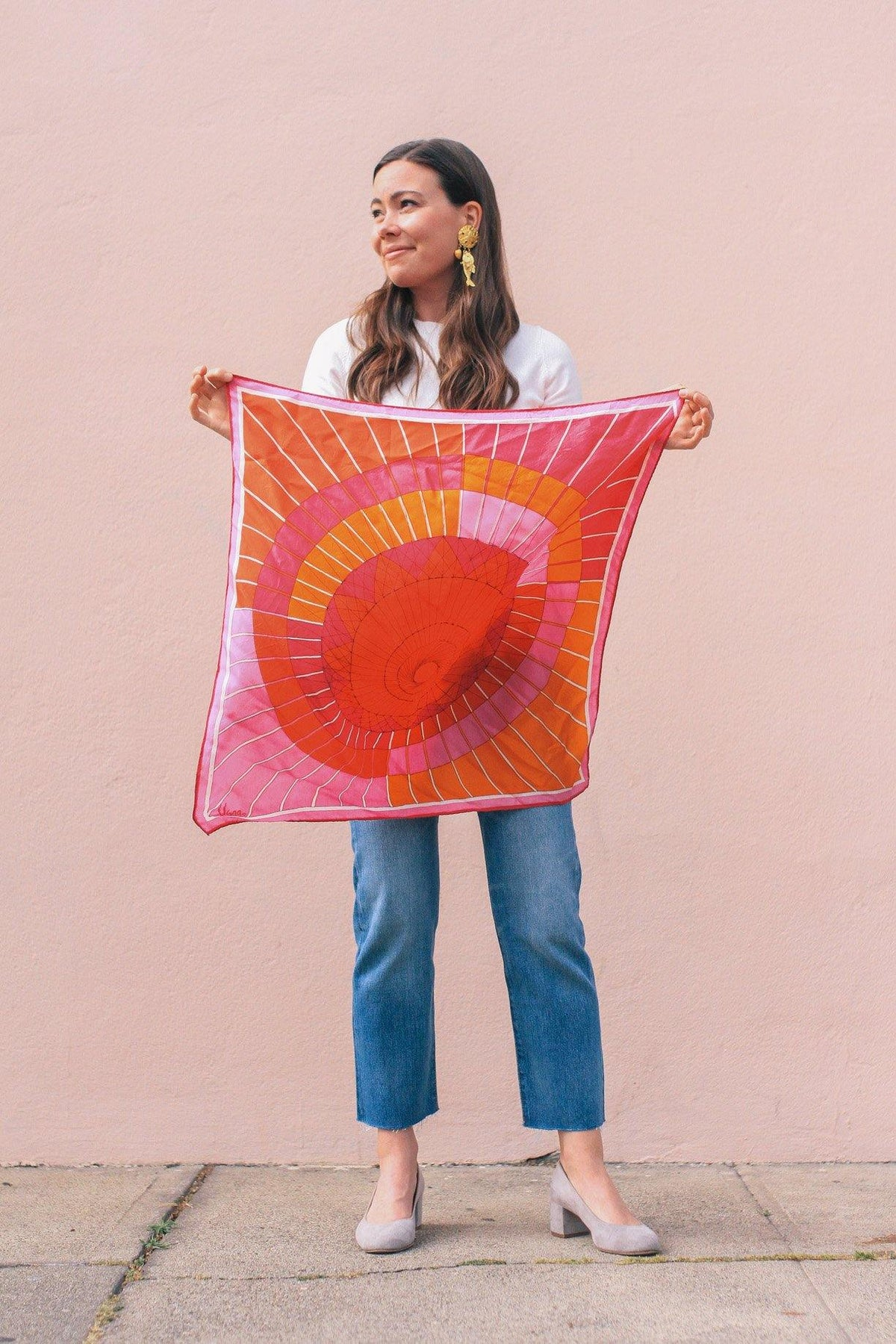 Vintage Vera Neumann pink waves scarf from Sweet & Spark.
