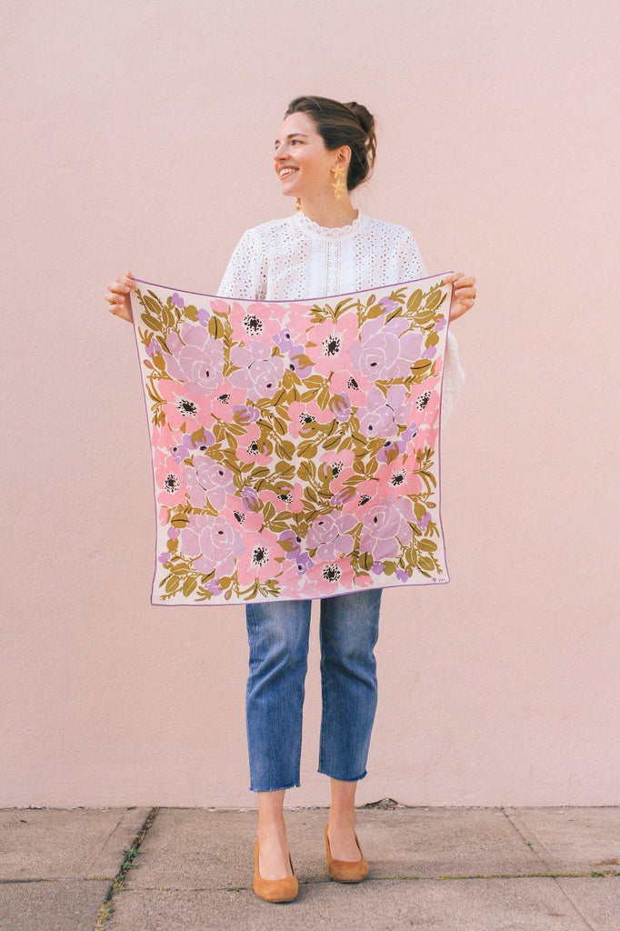 Oversized Florals Square Scarf