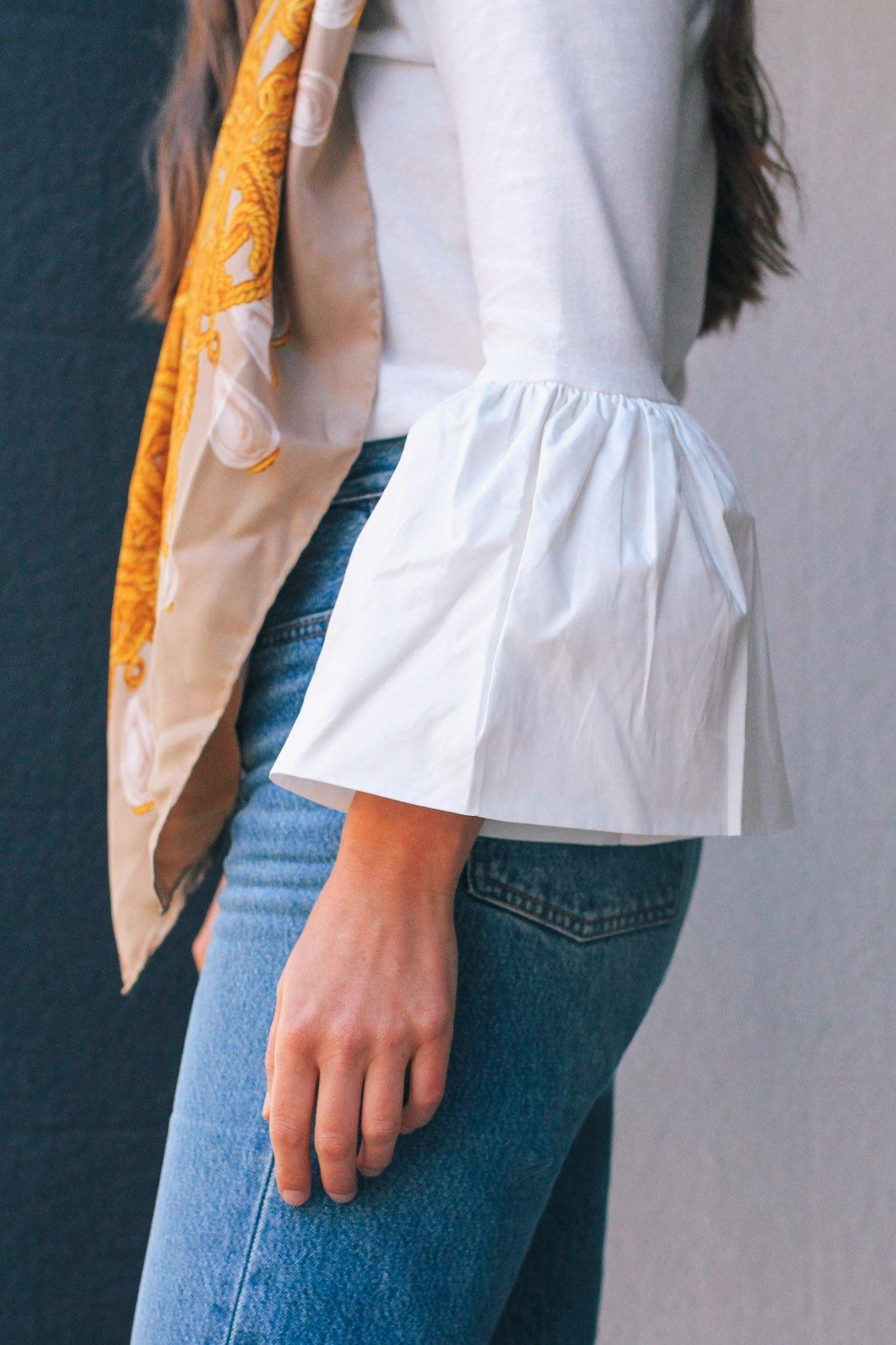English Factory White Ruffle Sleeve Top
