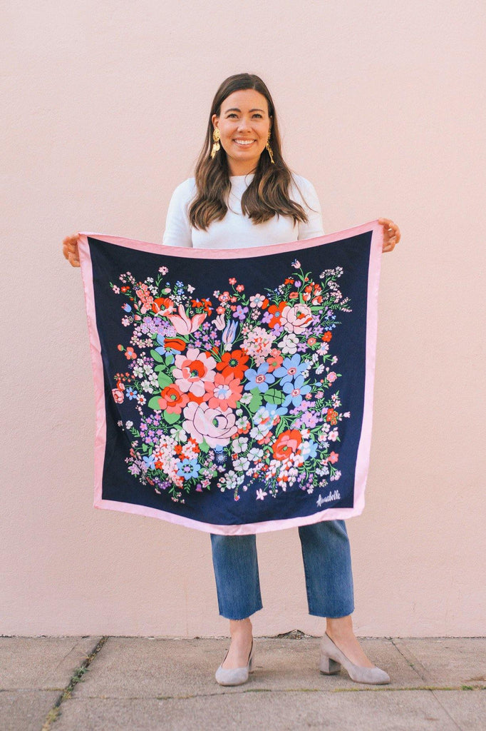 Floral Border Square Scarf