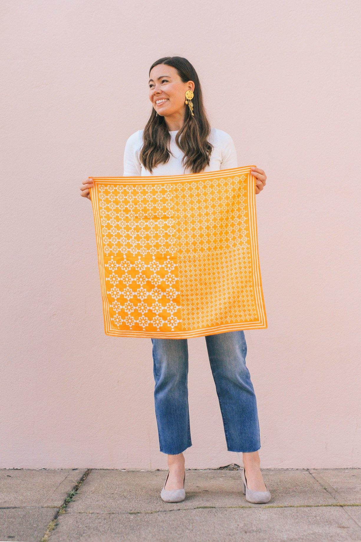 Yellow Tile Print Square Scarf