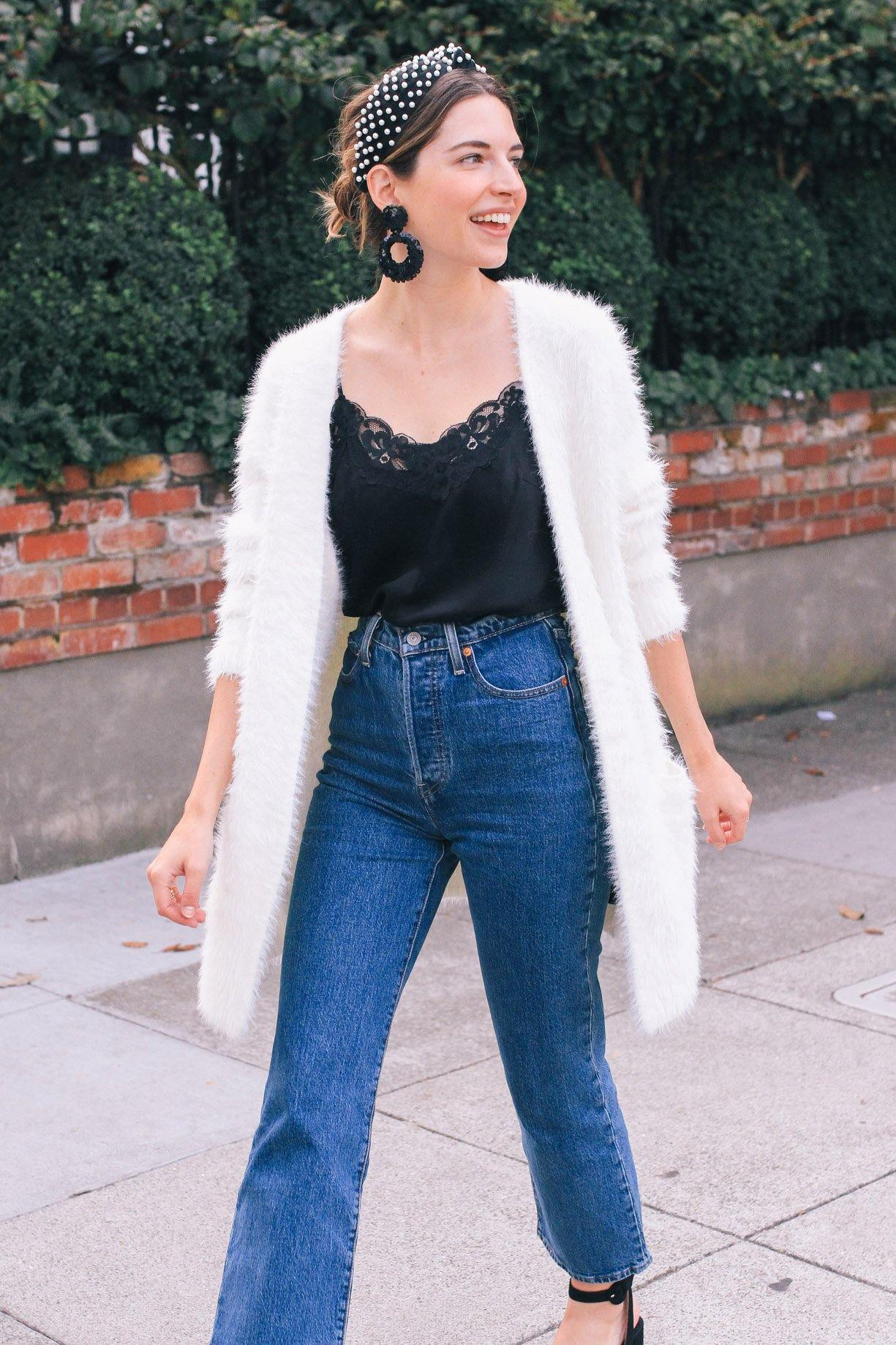 Sanctuary White Fuzzy Cardigan