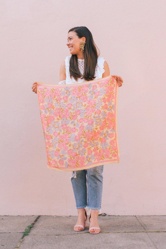 Nude Florals Square Scarf
