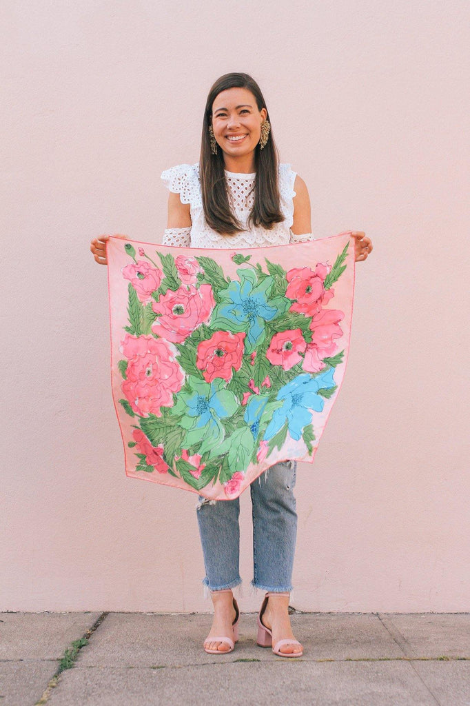 Pink & Green Floral Square Scarf