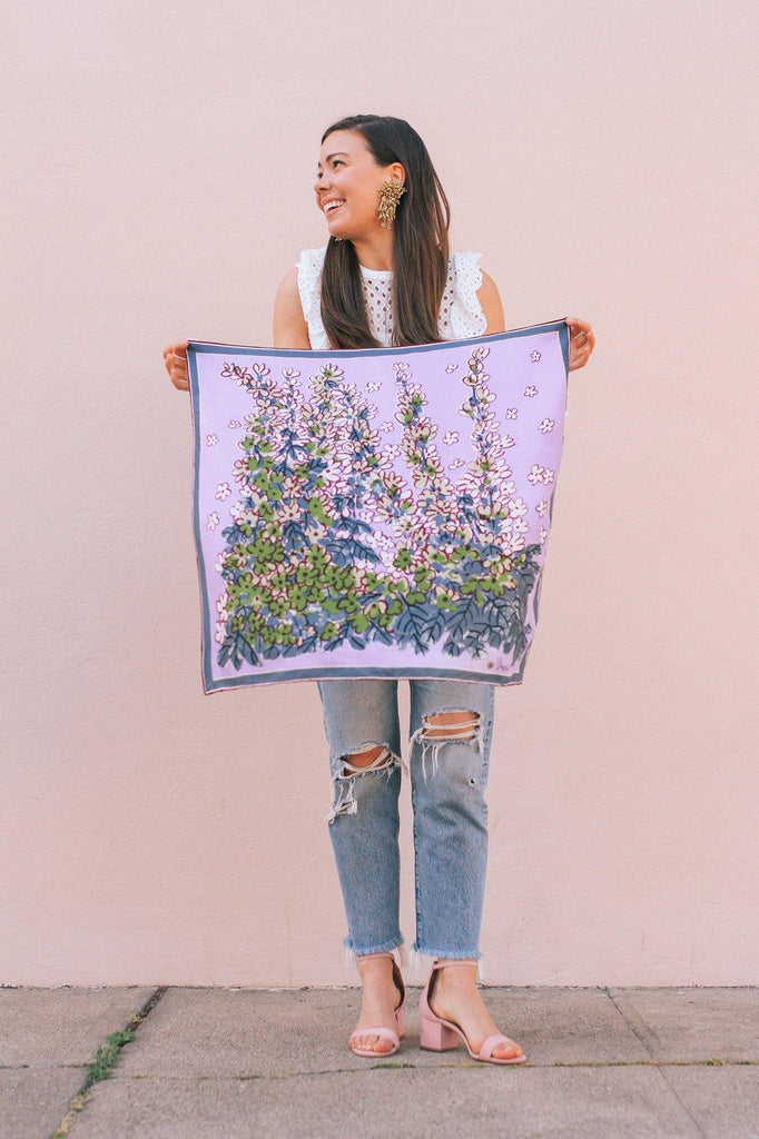 Purple Garden Party Square Scarf