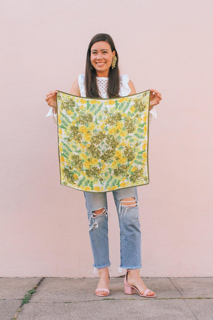 Abstract Florals Square Scarf