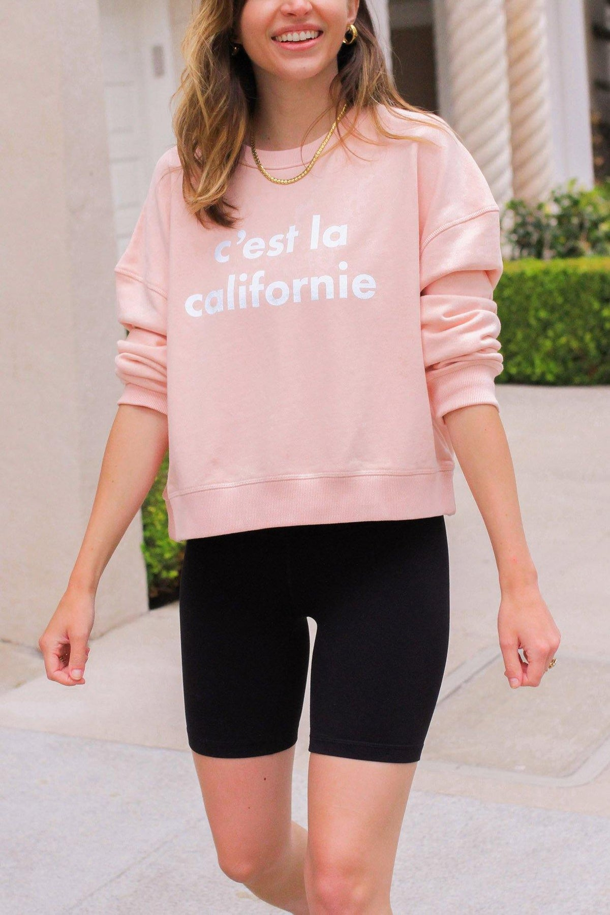 C'est la Californie pink sweatshirt from Sweet & Spark.