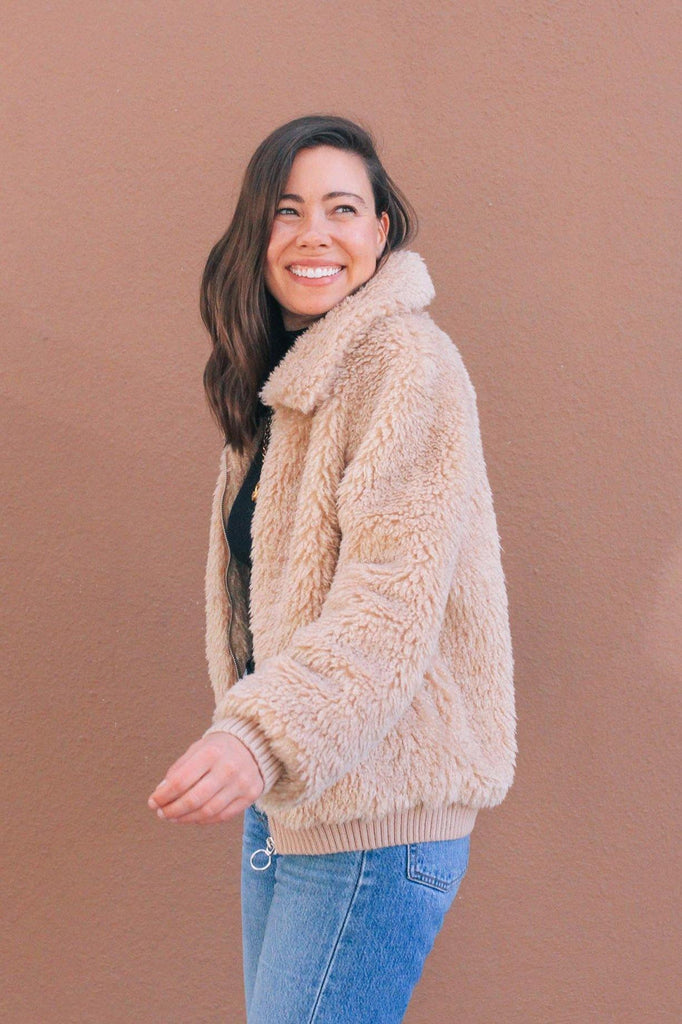 Heartloom Tan Fuzzy Jacket