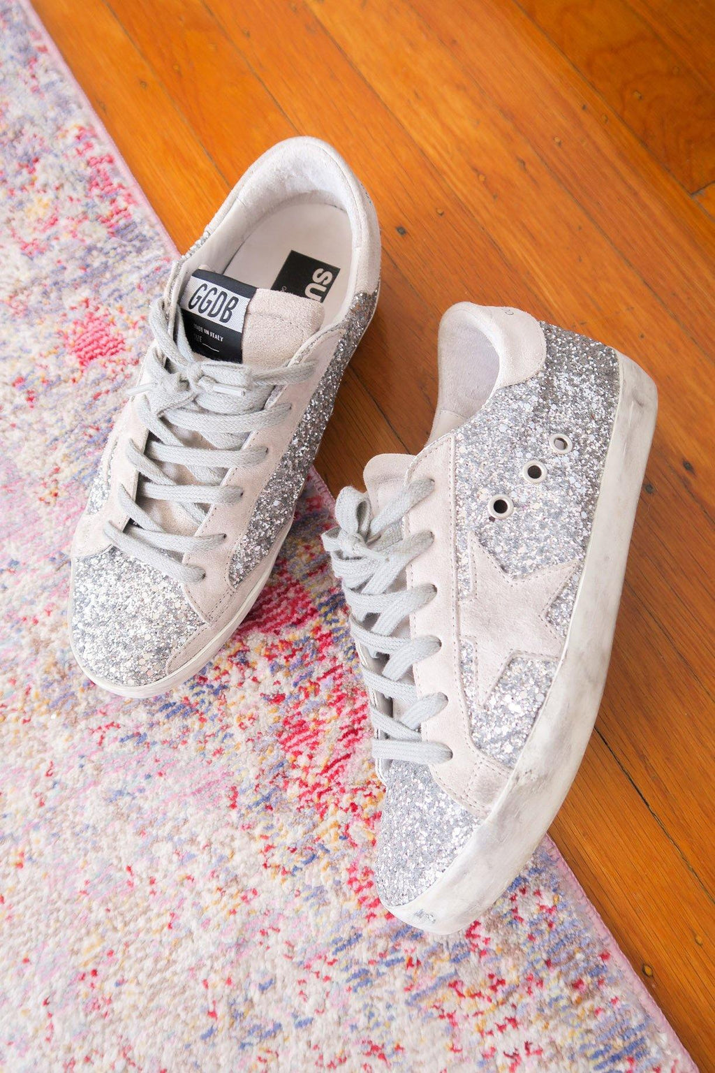 Golden Goose Silver Glitter Superstar Sneakers