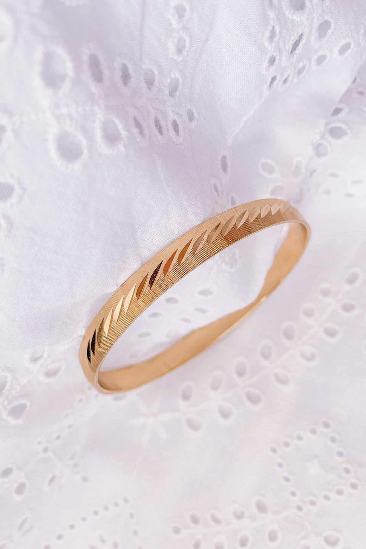 Skinny Etched Bangle Bracelet