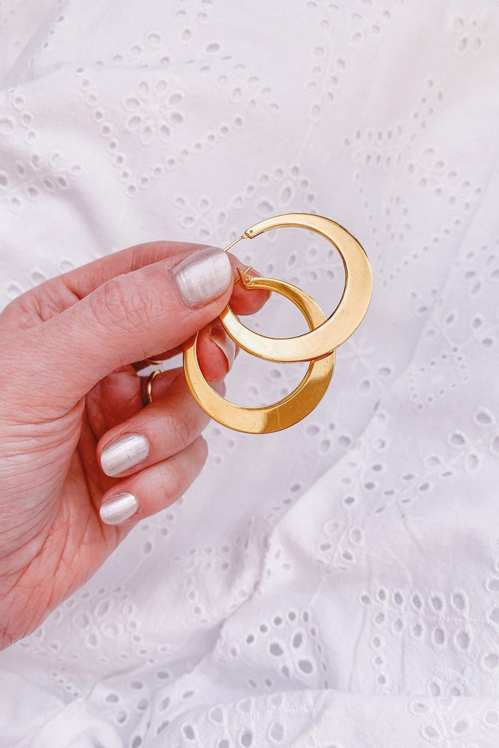 Statement Gold Hoop Pierced Earrings