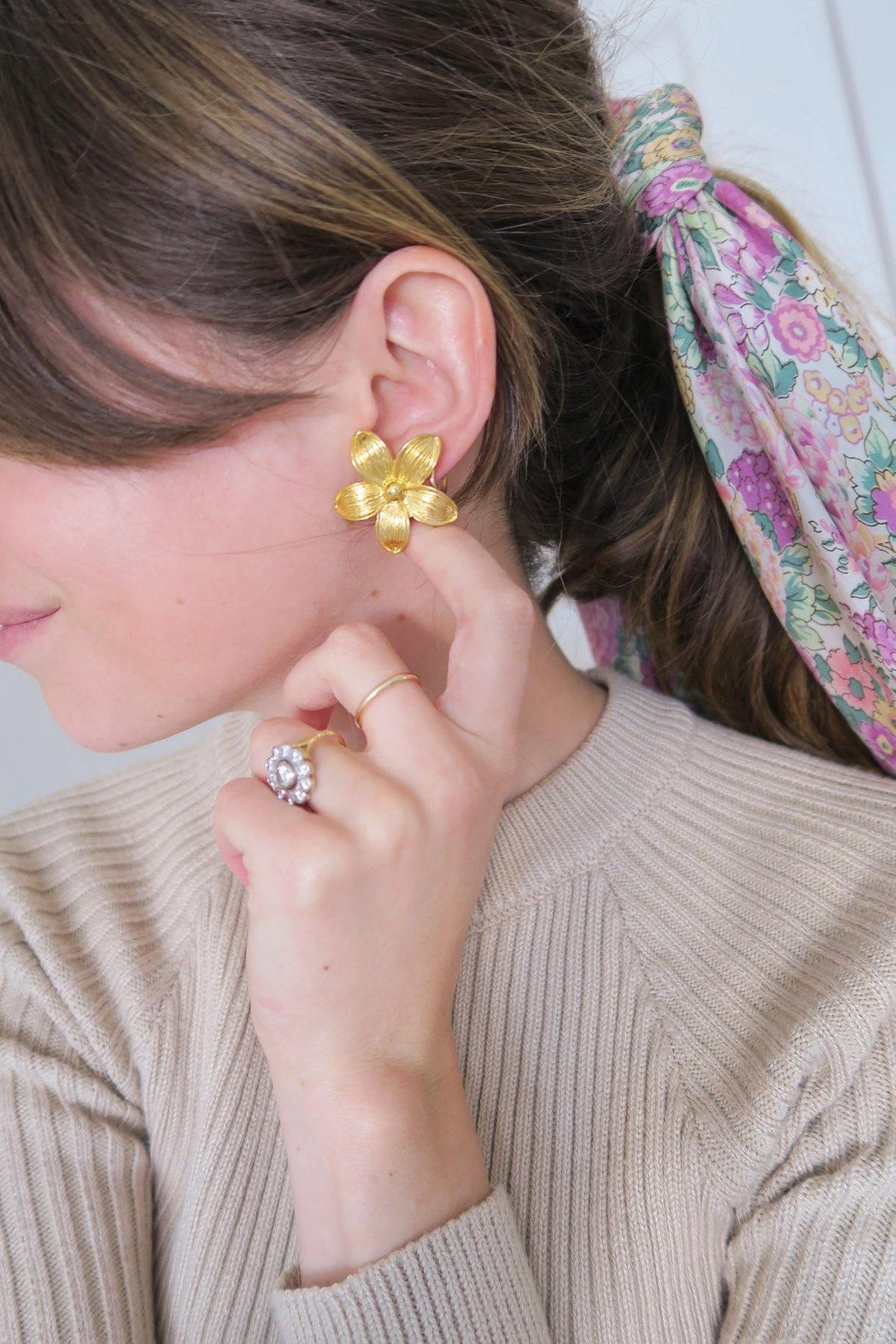 Sarah Coventry Statement Floral Earrings