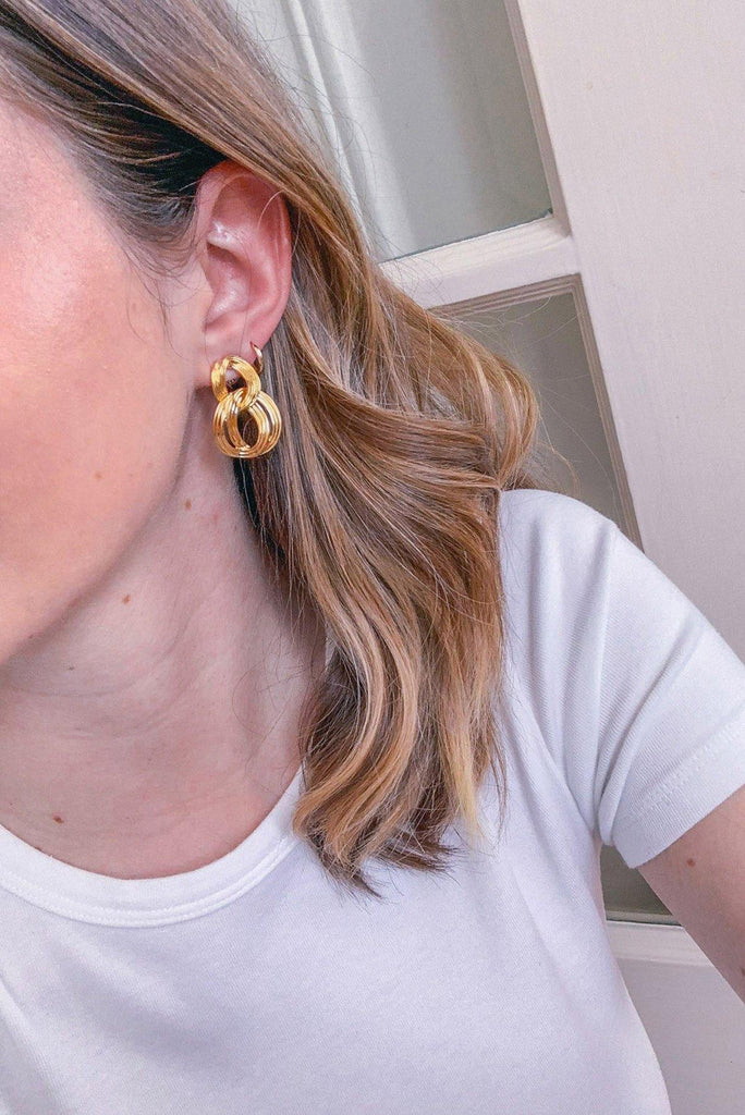 Link Drop Pierced Earrings