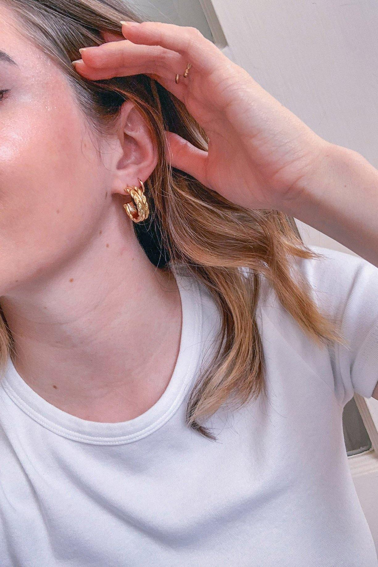Chain Link Hoop Pierced Earrings