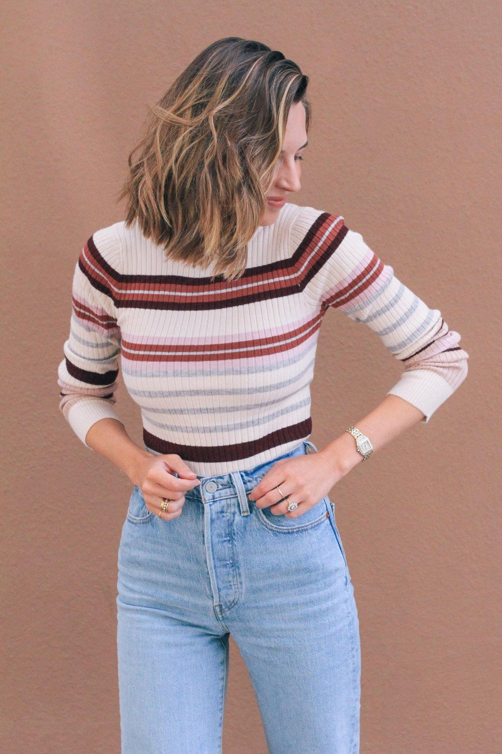 Heartloom Stripe Ribbed Top