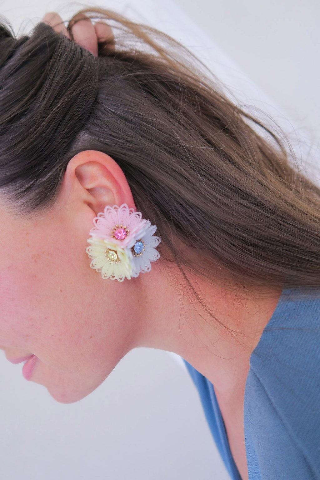 Pastel 3D Floral Clip-on Earrings