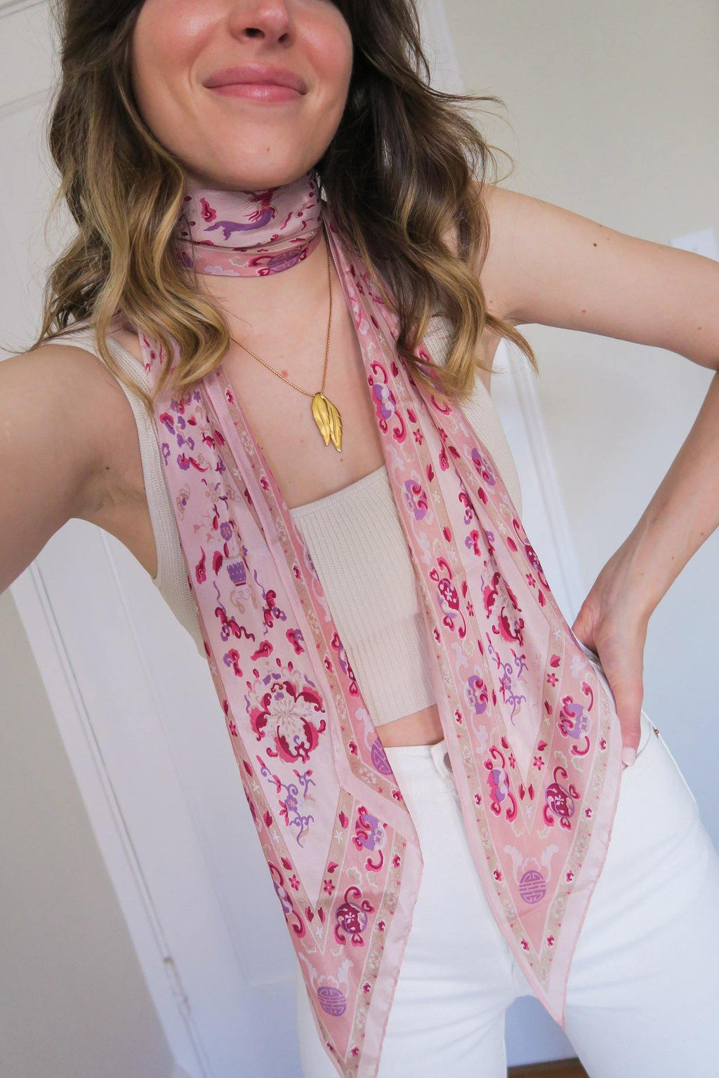Oscar de la Renta Pink Asian Inspired Scarf